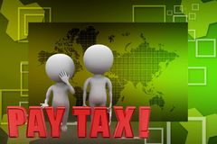 3d man with pay tax illustration Royalty Free Stock Image