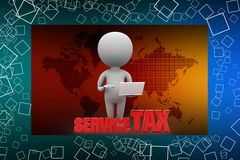 3d man with pay tax illustration Royalty Free Stock Photos