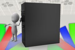 3d man pc illustration Royalty Free Stock Photo