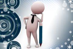 3d man with pencil illustration Stock Images