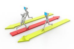 3d man people running on colorful arrows Royalty Free Stock Images