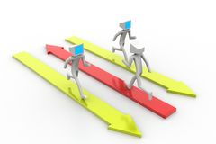 3d man people running on colorful arrows Stock Photo