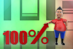 3d man 100 percent illustration Royalty Free Stock Photo