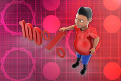 3d man 100 percent illustration Stock Photography