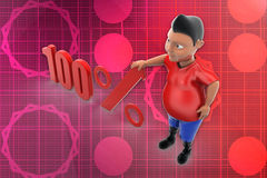 3d man 100 percent illustration Stock Image
