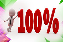 3d man 100 percent illustration Royalty Free Stock Photography