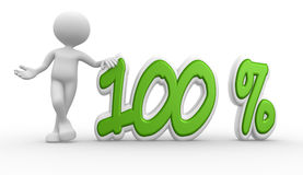 3d man and percent sign. 100%. 3d people - man, person and percent sign. 100 Stock Image