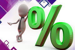 3d man percent symbol illustration Royalty Free Stock Photo