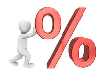 3d abstract human with percent sign Royalty Free Stock Photo