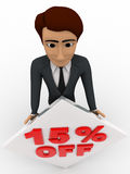 3d man with 15 percentage discount square board concept Royalty Free Stock Photography