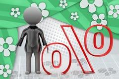 3d man percentage illustration Royalty Free Stock Image