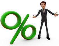 3d man with percentage sign concept Royalty Free Stock Images