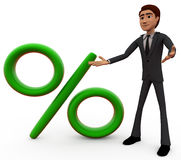 3d man with percentage sign concept Royalty Free Stock Image