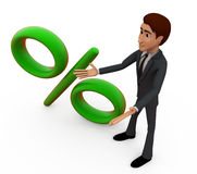 3d man with percentage sign concept Royalty Free Stock Photography