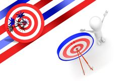 3d man with perfectly aimed arrows on target board concept. 3d rendering , top angle view Stock Photo