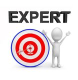 3d man with perfectly aimed arrows on target board _ expert text concept. 3d rendering , front angle view Stock Photos