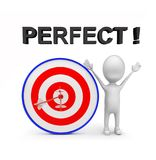 3d man with perfectly aimed arrows on target board _ perfect text concept. 3d rendering , front angle view Royalty Free Stock Photos