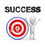 3d man with perfectly aimed arrows on target board _ success text concept. 3d rendering , front angle view Stock Photos