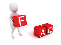 3d man person and Frequently Asked Questions cubes FAQ concept Stock Photography