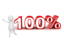 3d man person and percent sign 100% Royalty Free Stock Images
