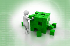 3d man person pushing a cube Stock Photography