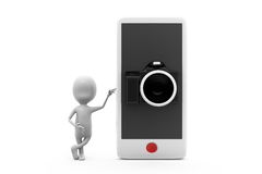 3d man phone camera concept Royalty Free Stock Images