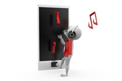 3d man phone music concept Royalty Free Stock Photo