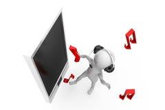 3d man phone music concept Stock Images