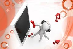 3d man phone music illustration Royalty Free Stock Photo