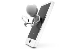 3d man phone search concept Royalty Free Stock Photography
