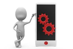 3d man phone setting concept Royalty Free Stock Photo
