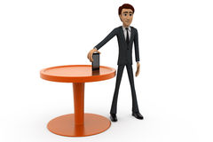 3d man with phone and table concept Stock Photos