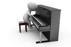 3d man piano concept Stock Photo