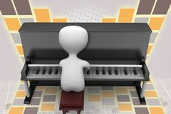 3d man piano illustration Stock Photo