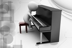 3d man piano illustration Royalty Free Stock Image