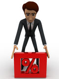 3d man picking up square box with red percentage sign in it concept Stock Image