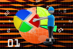 3d man with pie chart. In color background Stock Photo