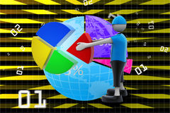 3d man with pie chart. In color background Stock Photos