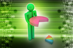 3d man with pie chart. In color background Royalty Free Stock Photography