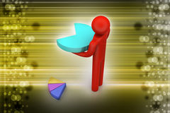 3d man with pie chart. In color background Royalty Free Stock Images