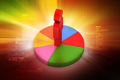 3d man with pie chart. In color background Royalty Free Stock Image