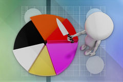 3D man and pie chart illustration Royalty Free Stock Photos