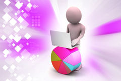 3d man with pie chart and laptop Royalty Free Stock Images