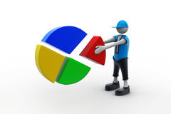 3d man with pie chart. In white background Royalty Free Stock Photo