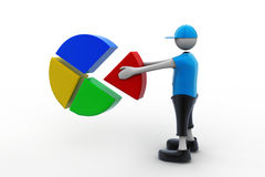 3d man with pie chart. In white background Royalty Free Stock Images