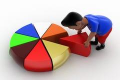 3D man pie chart Stock Image