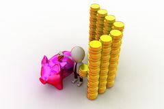 3d man with piggy bank and coins concept Royalty Free Stock Photography
