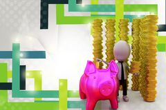 3d man with piggy bank and coins illustration Stock Photo