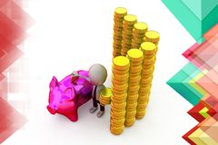 3d man with piggy bank and coins illustration Royalty Free Stock Image