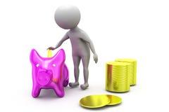 3d man piggy bank concept Royalty Free Stock Photos